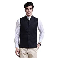 Vandnam Mens Poly Cotton Black Color Nehru Jacket (blackchecks)