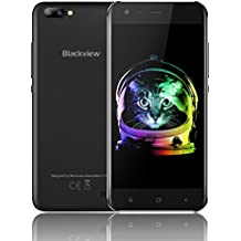 Günstiges Handy Ohne Vertrag, Blackview A7 Dual SIM Smartphone Handy mit 5.0 Zoll HD IPS Display - Android 7.0 Smartphone - Quad Core 1.3GHz - Hintere Dual Kamera 5.0MP - 2800mAh Große Batterie - 8GB ROM - Schwarz