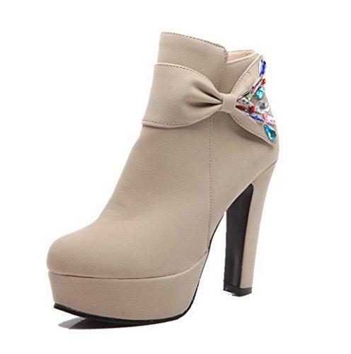 AllhqFashion Damen Rein Hoher Absatz Spitz Zehe Nubukleder Ziehen auf Stiefel,Cremefarben,32