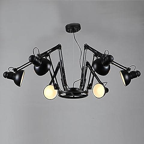 Fei & S Moderno ed elegante lampadario a sospensione design e cristallo trasparente Perline da soffitto, con miglior servizio 6 Black w/9W lamp remote control