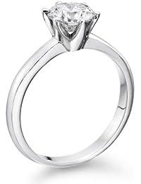 Diamant Ring 1.02 Ct W H/VS2 Round 18 Karat (750) Weißgold (Ringgröße 48-63)