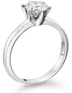 Zertifikat Klassischer 18 Karat (750) Weißgold Damen - Diamant Ring Round 0.50 Karat D-SI2 (Ringgröße 48-63)