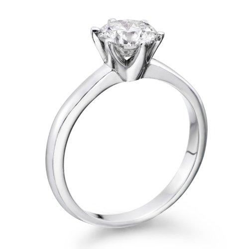 Anillo de compromiso de diamantes en 18 K oro/amarillo - certificado EGL, redondo, 1,05 Carat, G Color, VS2 claridad