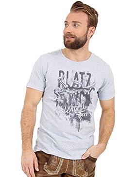 Michaelax-Fashion-Trade Krüger - Herren Trachten T-Shirt in Hellblau, Platzhirsch (95211-81)