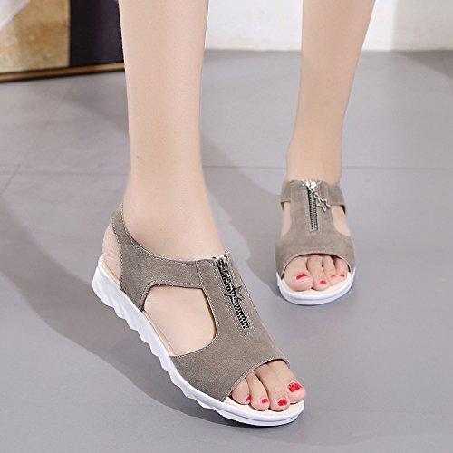 XY&GKWomen's flache Schuhe mit flachen Sandalen Sommer Studenten Slip Toe All-Match schwangere Frauen 40 grey