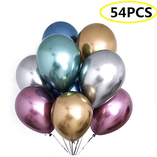 BIEE 54 Piezas Globos de látex metálicos Brillantes, Decoración de la Boda de cumpleaños, Accesorios para Fiesta temática de graduación