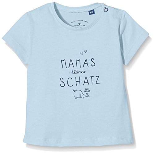 TOM TAILOR Kids Baby-Mädchen Langarmshirt German Slogan T-Shirt, Blau (Washed Out Middle Blue 6837), 86