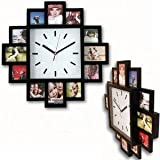 Design Wallclock Photo Family Time Frame Clock Black With 12 Pictures Photos