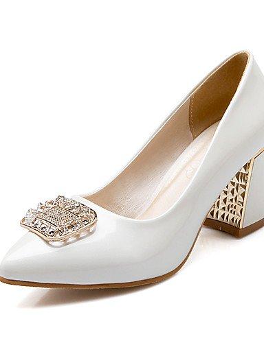 WSS 2016 Chaussures Femme-Bureau & Travail / Décontracté-Bleu / Rose / Blanc / Beige-Gros Talon-Talons / Confort / Bout Pointu-Talons-Cuir Verni / beige-us6 / eu36 / uk4 / cn36