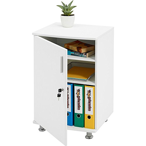 Storage Cabinet Cupboard and Desktop Extension to in White Woodgrain Match Range of Piranha Home Office Furniture - Bowfin PC 4s
