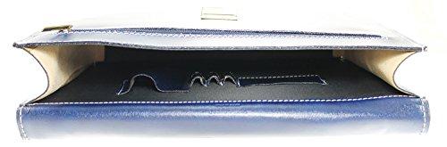 Portadocumenti in pelle italiana, Cartella Borsa Uomo Donna MainApps Blu