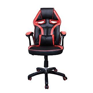 HG® Silla Giratoria De Oficina Gaming Chair Apoyabrazos Acolchados Premium Comfort Silla Racing Capacidad De Carga 200 Kg Altura Ajustable Negro/Rojo