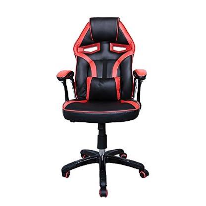 41cJG6ws5BL. SS416  - HG Silla Giratoria De Oficina Gaming Chair Apoyabrazos Acolchados Premium Comfort Silla Racing Capacidad De Carga 200 Kg Altura Ajustable Negro/Rojo