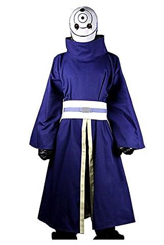 Naruto Akatsuki Ninja Tobi Obito Madara Uchiha Cosplay Kostüm (Mit Mask) Herren M (Madara Uchiha Kostüm)