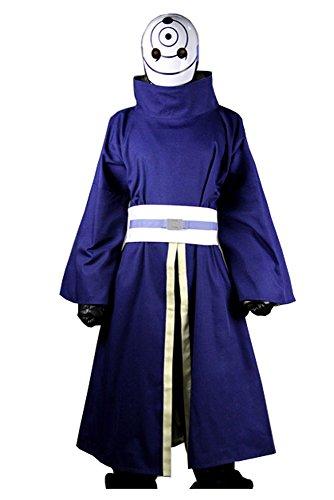 Naruto Akatsuki Ninja Tobi Obito Madara Uchiha Cosplay Kostüm (Mit Mask) Herren (Kostüm Tobi Cosplay)