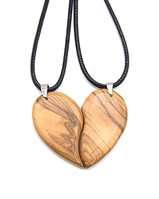 WOODISLAND - 2 Colliers Pendentifs séparable coeur en bois d'olivier tourné à la main de façon artisanal sans produit chimique, cadeau fête des mères, amour, amitié