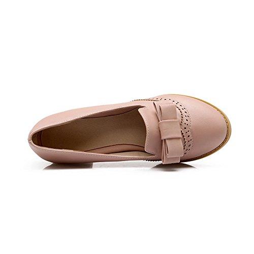 BalaMasa antiscivolo, da donna con tacco Kitten-Imitated pompe, in pelle, per scarpe Pink