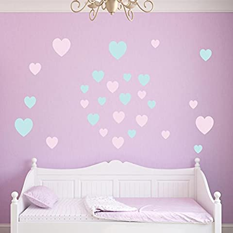 Supertogether Pastel Coloured Hearts Childrens Wall Stickers - Kids Patterned Bedroom Vinyl Decals (Pack of 28)