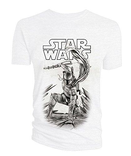 Star Wars T-Shirt Boba Fett Black & White Size XL Titan Merchandise shirts (Star Wars Anikan)