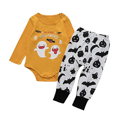 Cartoon Trick Treat Or Kostüm - Blaward Baby Boy Halloween-Kostüme Langarm-Strampler mit Trick or Treat-Monster-Aufdruck und Kürbishose 2er-Set