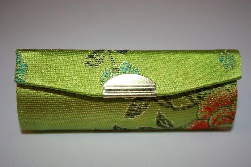 un-caso-verde-pochette-in-tessuto-broccato-effetto-seta-con-specchio-interno-per-convenience-contien