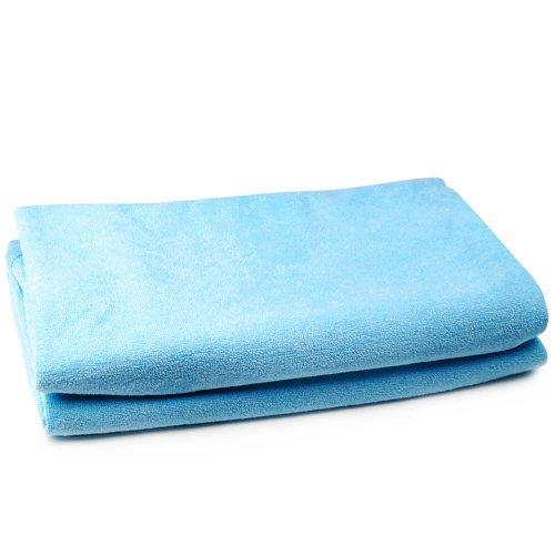 SODIAL(R) 2x 100% Baumwolle cotbed ausgestattet flache wasserdichte Blaetter 70cm x 140cm fuer Babybett - Blau