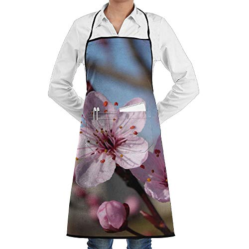 3d Beautiful Pink Peach Blossoms Schürze Lace Unisex Mens Womens Chef Adjustable Polyester Long Full Black Cooking Kitchen Schürzes Bib With Pockets For Restaurant Baking Crafting Gardening BBQ Grill Peach Pink Lace