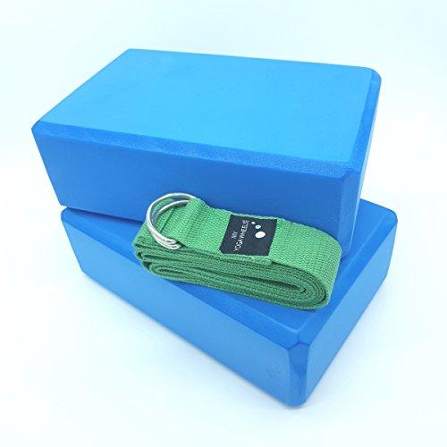 2x Blöcke + Riemen für Yoga/Pilates, Blöcke + Gürtel, Verlängerung zum Dehnen, Set, Von myyogawheels, damen Herren, Block and Strap Set, Blue Blocks + Green Strap (Yoga-ausrüstung Bundle)