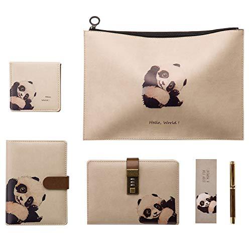 LJJTDS Cartoon Katze Serie 5 Stück Set Notebook/Passwort Buch Geeignet Für Erwachsene Und Kinder Zu Schreiben Tagebuch Handbemalte Skizzen Notebook Geschenke (Katze Oder Panda),Panda