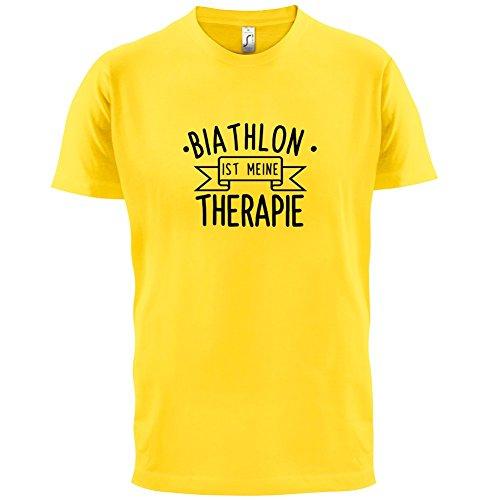 Biathlon ist meine Therapie - Herren T-Shirt - 13 Farben Gelb