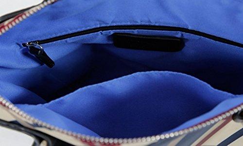 Waipuna, Borsetta da polso donna marrone Brown / Braun Karo rot / blau