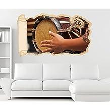 3D Wandtattoo Thai Trommel Musik Kunst Schlagzeug Tapete Wand Aufkleber Wanddurchbruch Deko Wandbild Wandsticker 11N2218, Wandbild Größe F:ca. 162cmx97cm
