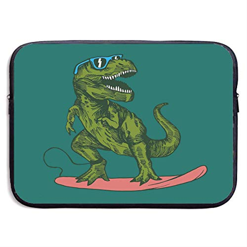 Happy Dinosaur Surfer Wearing Sunglasses Best Laptop Bags for Men and Women Scratch Resistant Laptop Sleeve Fits 13/15 Inch Laptop, Computer, Tablet,13 inch