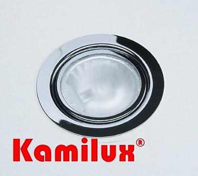 Möbel Einbaustrahler 12V inklusive Halogenleuchtmittel dimmbar in 20 Watt AMP Stecker und Kabel Farbe: chrom von Kamilux - Lampenhans.de
