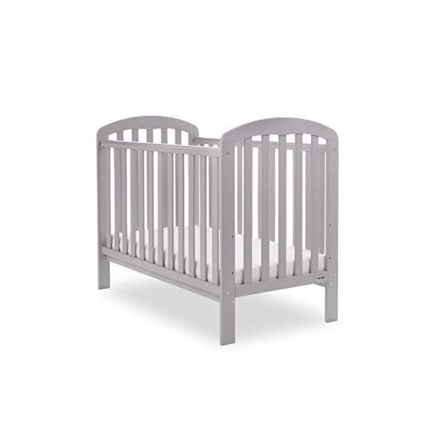 Obaby Lily Cot and Moisture Management Mattress - Warm Grey Obaby Suitable from birth to 18 months approximately Three position mattress height with protective teething rails Internal measurements of 120 x 60cm 4