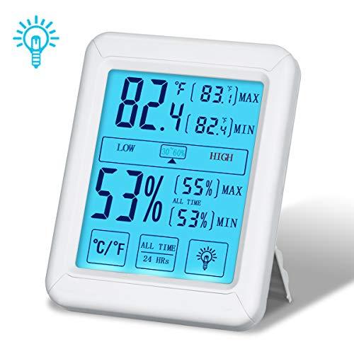 Tvird Termometro Igrometro, Digitale Grande LCD Retroilluminato Schermo di Tocco,°C /°F Commutabile,Temperatura Ambiente Misuratore Digitale della Temperatura e umidità,Comfort di Casa e Ufficio