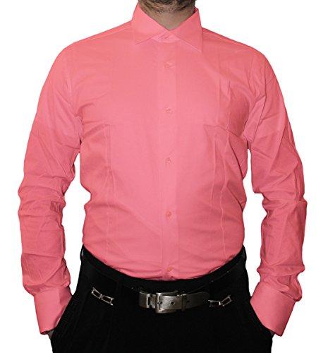Designer Herren Hemd Slim Fit tailliert klassischer Kragen Langarm Bügelfrei viele Farben Slimfit Bodyfit Rosa