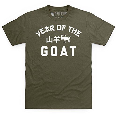 Year Of The Goat T-Shirt, Herren Olivgrn