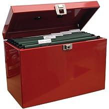 Caja archivadora de metal, tamaño A4, color rojo