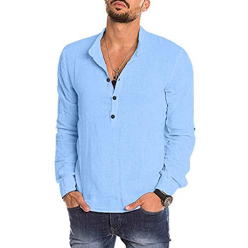 Dwevkeful Herren Freizeit Blusen Stehkragen Reine Farbe Shirt Tops Style Langarmshirts Slim Fit Hemden Herbst Und Winter Lange ÄRmel Button Down Hemd -