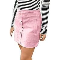 Gusspower-faldas mujer Corta Elegantes Faldas Mini Mujer Verano Fiesta Originales Mujeres Vintage Botón Cintura Alta Llanura Una Línea Mini Falda Corta