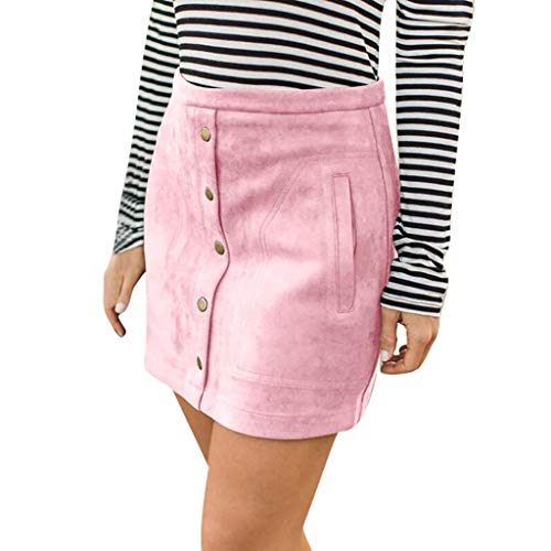Aiserkly Womens Elastic Pocket Button Solid Stretch Bodycon Knee Evening Party Skirt