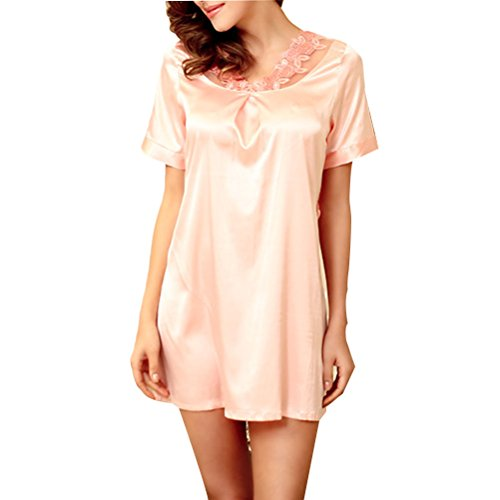 Zhhlaixing Summer Womens Short Sleeves Pajama Comfortable Home Sleepwear 3 Colors Pink Beige