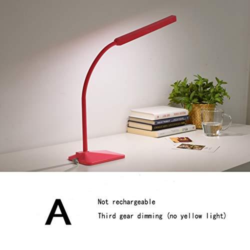 Led-Nachttischlampe, Leselampe mit Berührungssensor, flexibel einstellbarer Schwanenhals, 5-Gang-Schreibtischlampe (Color : Pink-A)