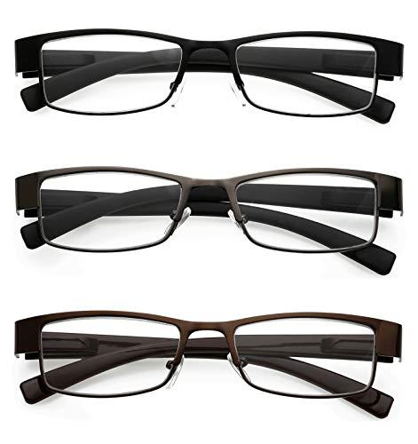 KOOSUFA Lesebrillen herren Damen Sehhilfe Augenoptik Lesehilfe Metall Brille lesebrille set schwarz braun Grau (3 PACK(Schwarz+Braun+Grau), 1.5)