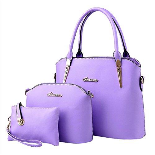 Baymate Elegante da Donna Retro Handbag Shoulder Bag Tote Bag 3 Pezzi Porpora