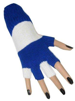 Deluxe fingerlose Strickhandschuhe Blau/Weiß