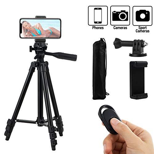 Hitchy Handy Stativ, Kamera Stativ 51 Zoll 130cm Aluminium-Leichtbau Smartphone Stativ für iPhone/Samsung/Huawei,GoPro und Kamera mit Bluetooth-Fernbedienung,Tragetasche und GoPro-Halterung(Schwarz)