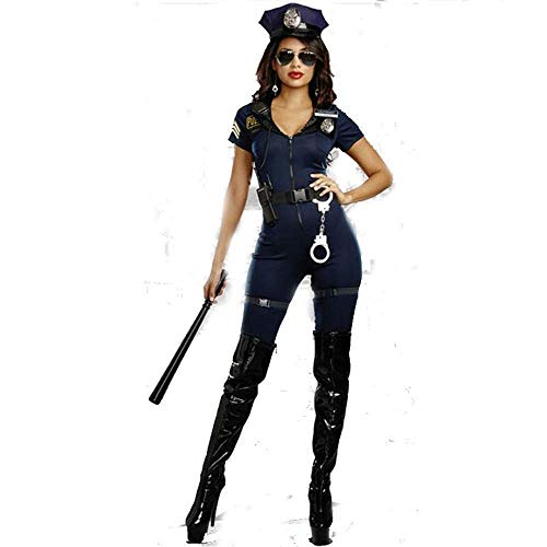 Fashion-Cos1 Halloween Kostüm Damen Polizei Kurzarm Blau Polizistin Kostüm Uniform Party Polizei Kostüm (Size : XL)