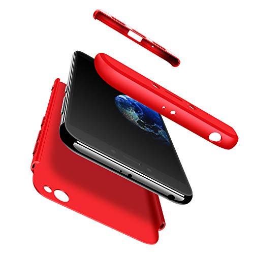 hyujia Compatible Xiaomi Redmi GO Funda(2018) Carcasa 360° Ultra Fina Protectora cojín+Vidrio Templado Pantalla Protector,3 in 1 PC Hard Caja Caso Skin Case Cover Carcasa para Xiaomi Redmi GO Rojo
